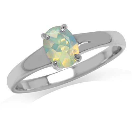 Genuine Opal White Gold Plated 925 Sterling Silver Solitaire Ring Size 9 ()