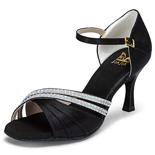 2cb989e3ab JIA JIA J20524 Women's Satin Sandals Flared Heel Latin Salsa Performance  Dance Shoes Color Black,