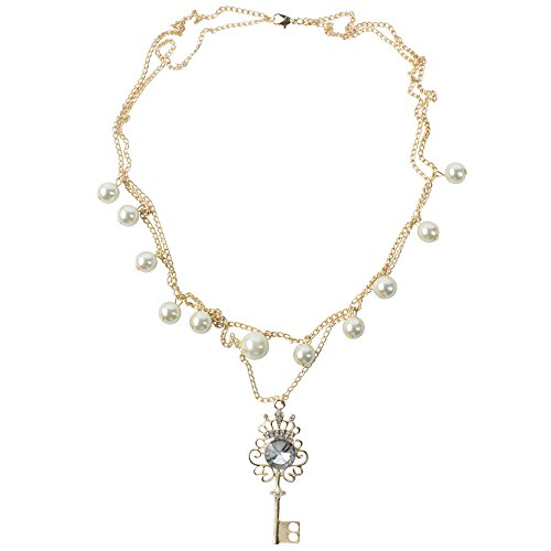 niceeshop(TM) Fashion Crown Key with Pearls Double Row Long Key Pendant Necklace