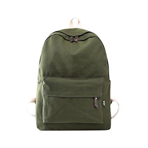 Light Green Canvas - Lanhui_Girls Exquisite Canvas Preppy Shoulder Bookbags School Travel Backpack Bag (Army Green)