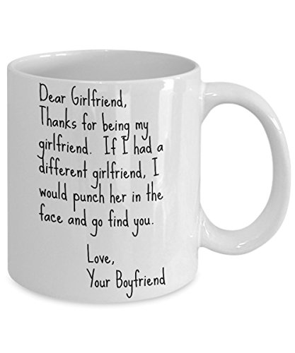 Dear Girlfriend Punch Mug - Face Punch 11 oz. Best Funny Inappropriate Sarcastic Mugs - Ceramic Coffee Cup With Sayings, Hilarious Unusual Quirky Valentine's Gag Gifts for Women, Comment Tea Cup