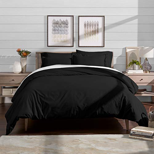 Bare Home Luxury 3 Piece Duvet Cover and Sham Set - Premium 1800 Ultra-Soft Brushed Microfiber - Hypoallergenic, Easy Care, Wrinkle Resistant (Full/Queen, Black)