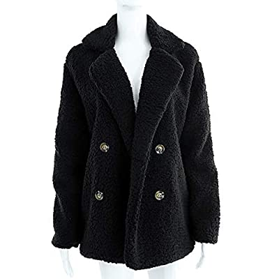 Womens Coats Lapel Fuzzy Fleece Overcoats Fashion Open Front Long Cardigan Faux Fur Warm Winter Outwear Jackets at Women's Coats Shop