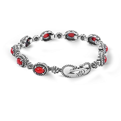 American West Sterling Silver Red Coral Gemstone Rope Concho Link Bracelet Size Small