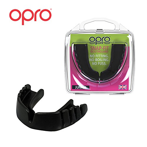 OPRO Mouthguard Snap-Fit Gum Shield for Ball, Combat and Stick Sports - No Boiling or Fitting Required -18 Month Warranty (Kids, Black)