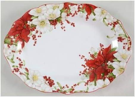 222 Fifth Winter Harmony Oval Serving Platter 14 [並行輸入品]