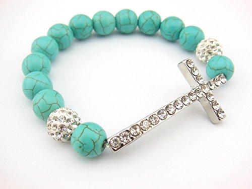 Rhodium Sideway Crystal Turquoise Bracelet