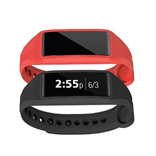 Striiv Fusion Bio 2: Activity Tracker, Smartwatch, Heart Rate Monitor (2 Pack), Black/Red