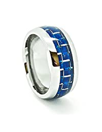8mm Domed Tungsten Carbide Ring with Blue Carbon Fiber Inlay
