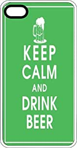 Keep Calm & Drink Beer White Plastic Case for Apple iPhone 5 or iPhone 5s
