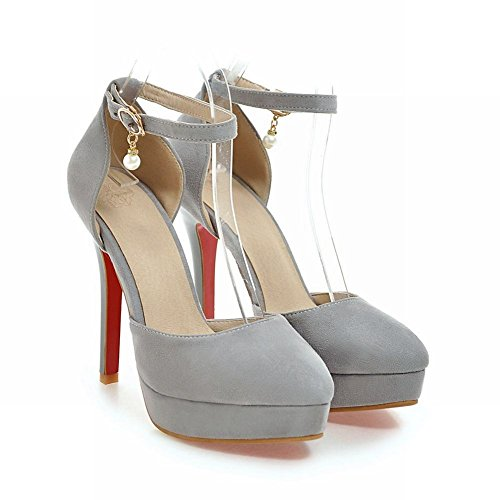 Charm Foot Womens Pointed Toe High Heel Ankle Strap DOrsay Shoes Grey 9V7PdQOft