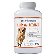 Glucosamine for Dogs Advanced Hip and Joint Supplement with MSM Chondroitin and Vitamins C & E - 120 Beef Flavoured Chewable Tablets - Best for Arthritis Pain Relief and Mobility