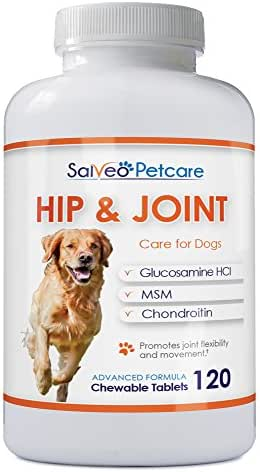 Salveo Petcare Glucosamine for Dogs 800mg Advanced - Hip and Joint Supplement with MSM Chondroitin and Vitamins C & E - 120 Beef Flavoured Chewable Tablets - Arthritis Pain Relief and Mobility
