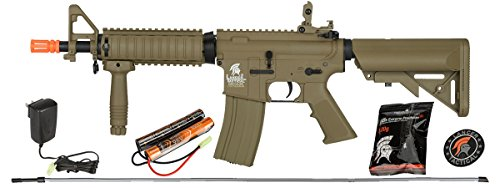 UKARMS Lancer Tactical MK18 MOD 0 AEG Field Metal Gears Airsoft Gun Rifle w 9.6v Battery & Charger (Tan High Velocity) ()