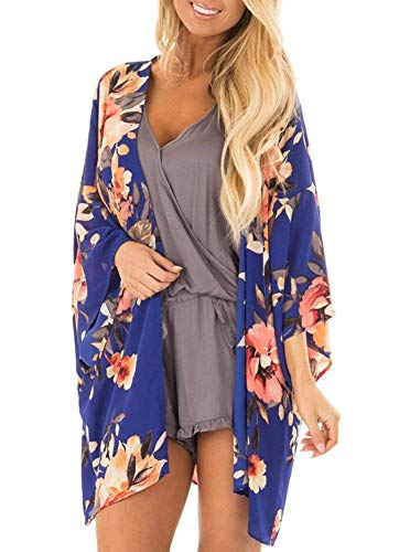 Womens Kimono Cardigan Cover Up Floral Chiffon Casual Capes (Blue,M)