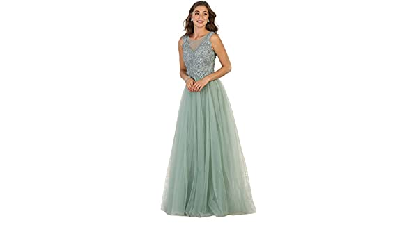 Royal Queen RQ7550 A-line Prom Dance Formal Gown (4, Sage) at Amazon Womens Clothing store: