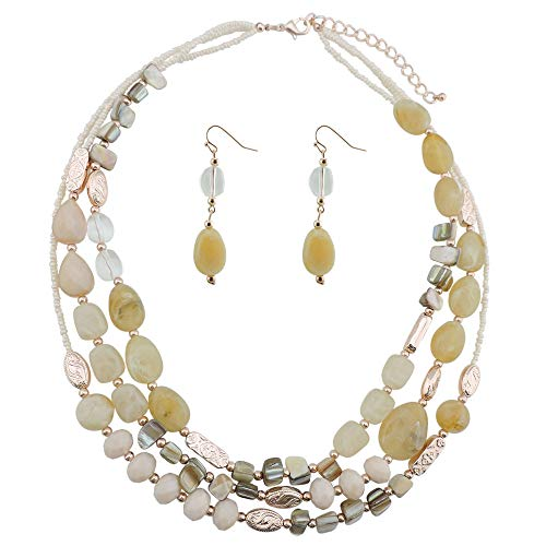 COIRIS Multi Layer Shell Beaded Statement Necklace for Women Jewelry (N0001-Beige)