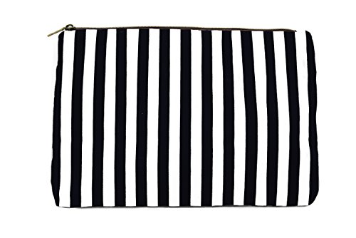 Limited Time Sale - Black Womens Striped Cosmetic Bag, Makeup Bag, Toiletry Bag, Organizer Bag, Small Travel Bag, Cosmetic Case, Makeup Pouch, Wallet, Jewelry Travel Bag (Black) - MSRP $38 by Lulu Dharma