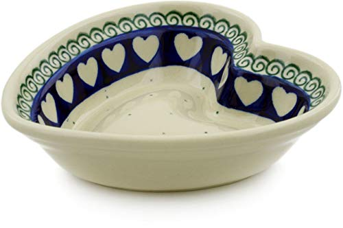 - Polish Pottery 5½-inch Heart Shaped Bowl made by Ceramika Artystyczna (Light Hearted Theme) + Certificate of Authenticity