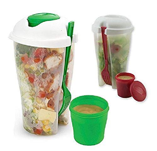 Salad Blaster - Fresh Salad Container Serving Cup Shaker with Dressing Container Fork Food Storage Bonus Recipes, Use This Bowl for Picnic, Lunch to Go, Made with High Quality Plastic Bottle - Eat Healthy -(Set of 2)
