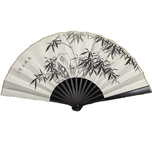GWXLD Folding Fan - Chinese Style Bamboo Handle Hand-Painted Pattern Retro Personalized Gift Box Wall Decoration D