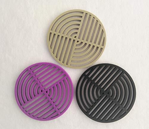 LONSEN Twist Silicone Pot Holders Set of 3, Insulated Flexible Durable Non Slip Coasters Hot Pads Heat Resistant Silicone Trivet Mat Safe Kitchen Trivet Bowl Mat (Black + Violet + Olive Green)