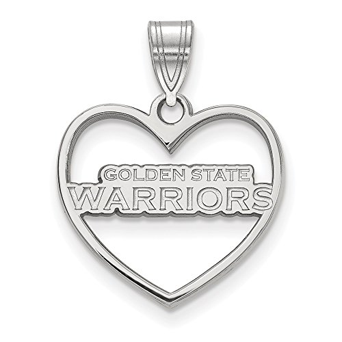 LogoArt NBA Golden State Warriors Heart Pendant in Rhodium Plated Sterling Silver