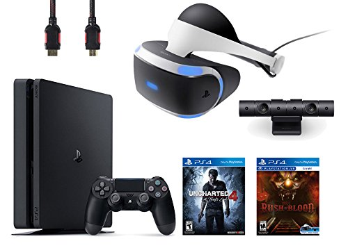 PlayStation VR Bundle 4 Items:VR Headset,Playstation Camera,PlayStation 4 Slim 500GB Console – Uncharted 4,VR game disc PSVR Until Dawn: Rush of Blood