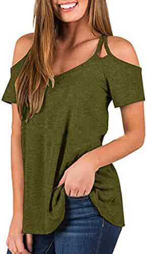 d32114eaabc YFancy Women Summer Shirts Cold Shoulder Fashion Short Sleeve T Shirt  Casual Tunic Solid Sling Loose