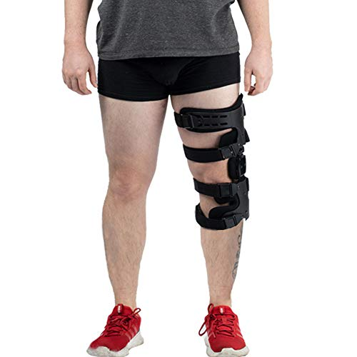 Hinged Knee Brace, Adjustable Post-Op Knee Support OA Unloading Knee Brace for ACL/Ligament/Sports Injuries, Mild Osteoarthritis & Preventive Protection Knee Joint Pain/Degeneration - Left...