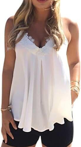 ONEMORES Women Sleeveless Shirt Chiffon Tank Tops Summer Casual Shirt Blouse