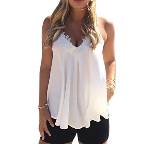 2017 New Women Summer Chiffon Vest ONEMORES(TM) Sleeveless Shirt Blouse Casual Tank Tops (XL) (New Top Shirt Womens Sexy)