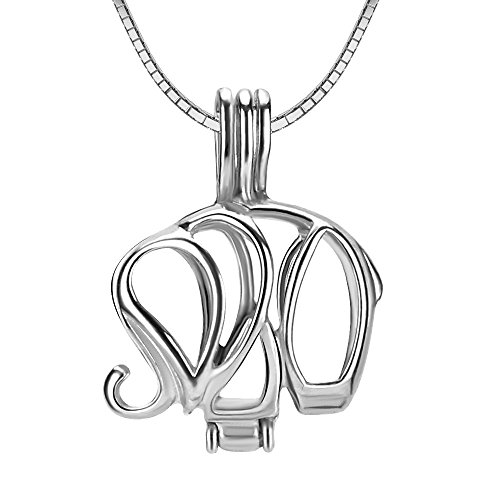 NY Jewelry 925 Sterling Silver Elephant Pendants for Pearl, Design Pearl Cage Pendants for Women Girls Jewelry -
