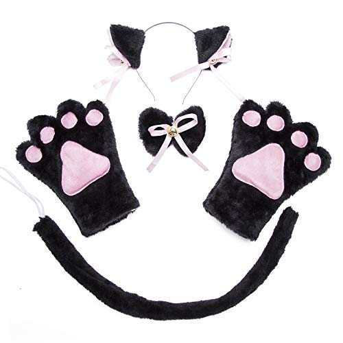 (Costume Cat Cosplay Set - 4Pcs Kitten Tail Ears Collar Paws Gloves Lolita Gothic Set)