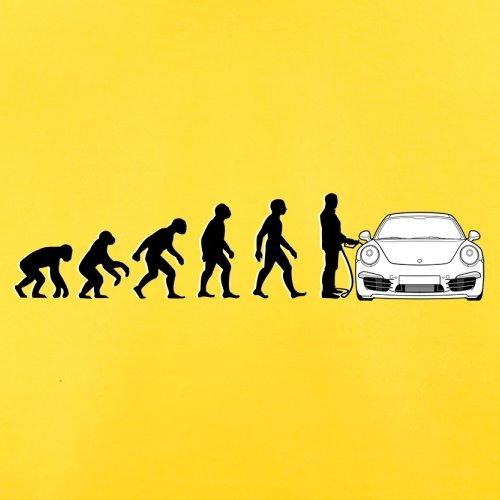 Evolution of Man - 911 Fahrer - Herren T-Shirt - Gelb - M