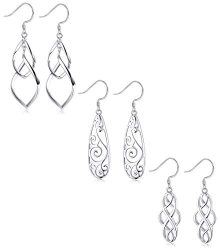 LOYALLOOK 3Pairs 925 Sterling Silver Celtic Knot Filigree Teardrop Double Twist Wave Long Tassels Drop Dangle Earrings for Women Girls