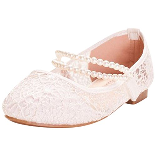 - David's Bridal Girls Lace Mary Janes with Pearl Strap Style KHARPER47, White, 11