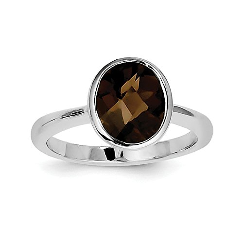 Sterling Silver Oval Polished Open back Checkerboard-cut Smokey Quartz Ring - Size 7 (Smokey Checkerboard Quartz)