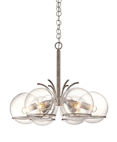Glass Recycled Chandelier (Varaluz 243C06SA Watson 6-Light Chandelier - Silver Age Finish with Clear Seedy Recycled Glass)