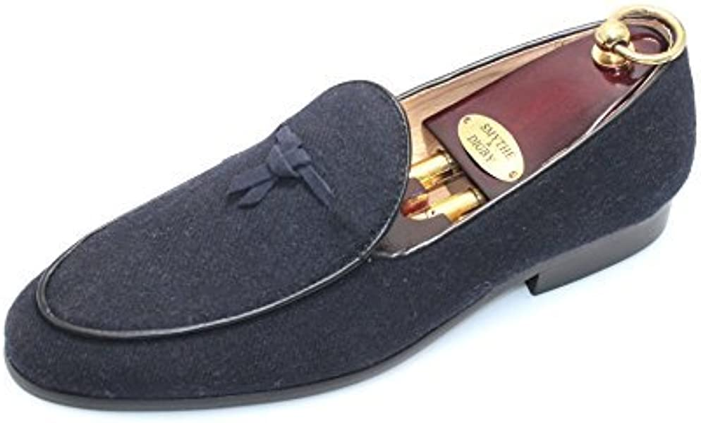 2c92a846206 SMYTHE   DIGBY Men s Navy Blue Flannel Albert Slippers Leather Velvet  Loafers ...