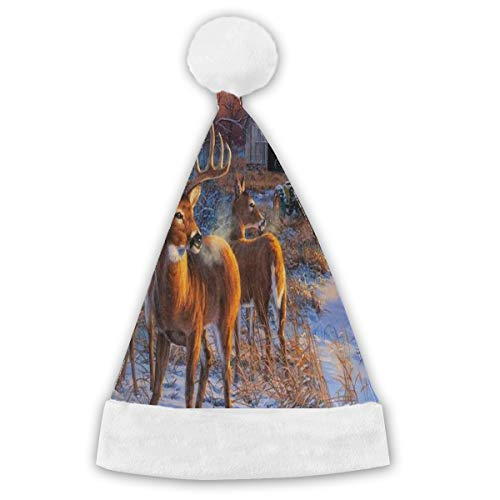NMCEO Christmas Hat Winter Whitetail Deer Personalized Santa Hat Festive -