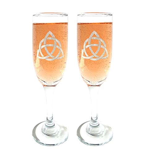 Trinity Knot Champagne Flutes Set of Two : Free Personalized Engraving