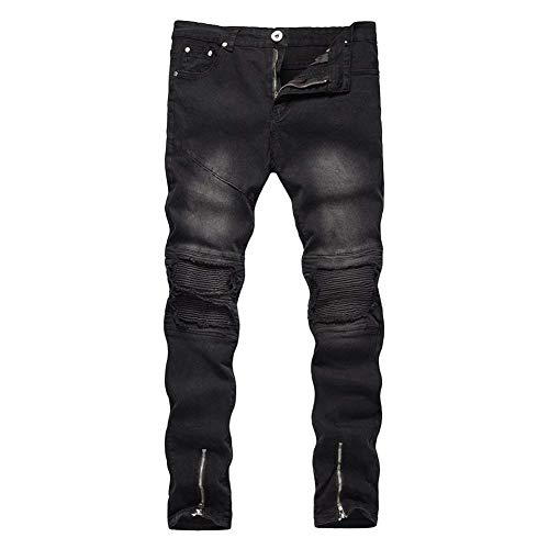 Jeans Da Uomo Destroyed Shorts In Denim Slim Fit Ripped Abbigliamento Strech Holes Pantaloni Casual Nero