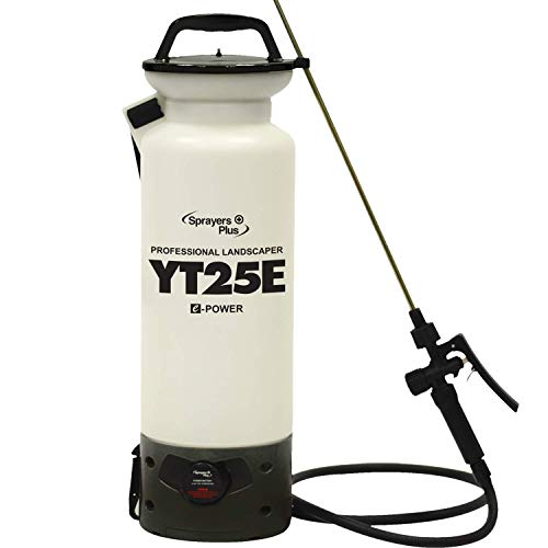 YT25E Battery Sprayer - 12V Lithium-ion with Viton Seals & O-Ring, Brass Wand & Nozzle & Shoulder Strap, 2 Gallon
