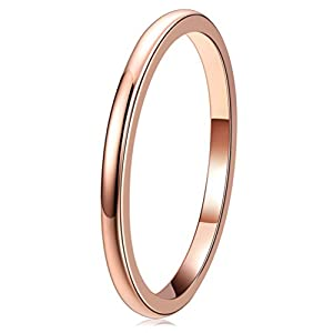 Three Keys Jewelry 2mm Tungsten Wedding Ring for Women Plated Rose Gold Wedding Band Engagement Ring
