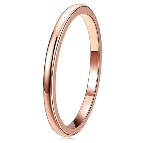 THREE KEYS JEWELRY Womens Charming Jewelers 2mm Rose Gold Tungsten Polished Wedding Carbide Ring Band for Women Engagement Size 8 from THREE KEYS JEWELRY