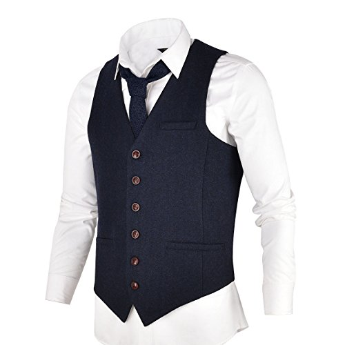 VOBOOM Men's Slim Fit Herringbone Tweed Suits Vest Premium Wool Blend Waistcoat (Navy Blue, 3XL)