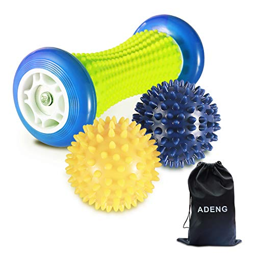 Foot Massage Roller Ball for Plantar Fasciitis – 1 Foot Roller and 2 Spiky Massage Balls Set, Foot Arch Pain Massager Relief Deep, Trigger Point Therapy Muscle Recovery Stress Relief