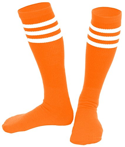 Soccer Player Halloween Costume For Girls (Knee High Socks  Three Stripe Socks  Socks for Costumes  and Cosplay Made in USA, Orange / White, One size)