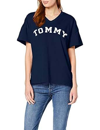 TOMMY HILFIGER Women's Logo V-Neck T-Shirt, Navy Blazer, XS